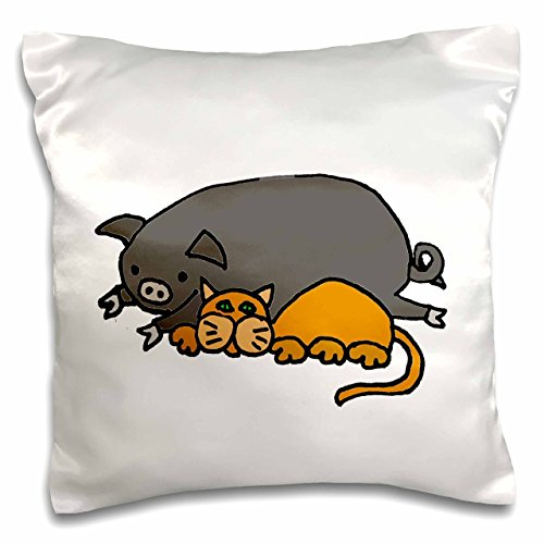 "3dRose Funny Cute Orange Cat Sleeping Next to Grey Pot Belied Pig Kissenbezug, weiß, 16"" x 16"" von 3dRose"