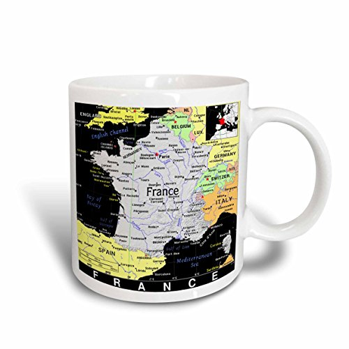 3dRose Modern Map of France in Vivid Farbe 11 Oz Tasse, Keramik, 10,2 x 7,62 x 9,52 cm von 3dRose