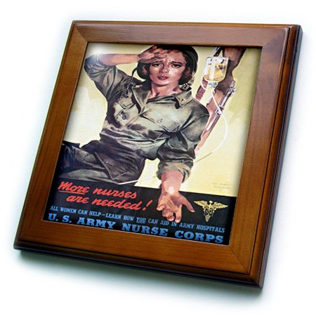 3dRose ft_149423_1 Vintage More Nurses Are Needed Us Army Nurse Corps Recruiting Poster, gerahmt, 20,3 x 20,3 cm von 3dRose