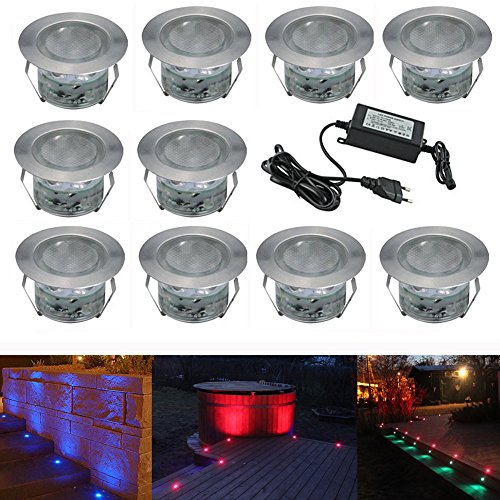 7colors led lampen 45mm treppen einbaustrahler 10er set ip67 wasserdicht led au en lampe. Black Bedroom Furniture Sets. Home Design Ideas