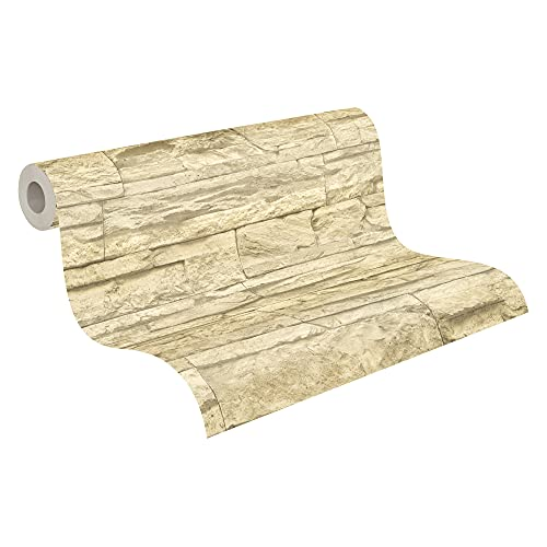 A.S. Création Vliestapete Best of Wood and Stone Tapete in Stein Optik fotorealistische Steintapete Naturstein 10,05 m x 0,53 m beige creme Made in Germany 707130 7071-30 von A.S. Création