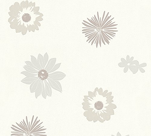 A.S. Création Vliestapete Happy Spring Tapete mit Blumen floral 10,05 m x 0,53 m beige grau weiß Made in Germany 347701 34770-1 von A.S. Création