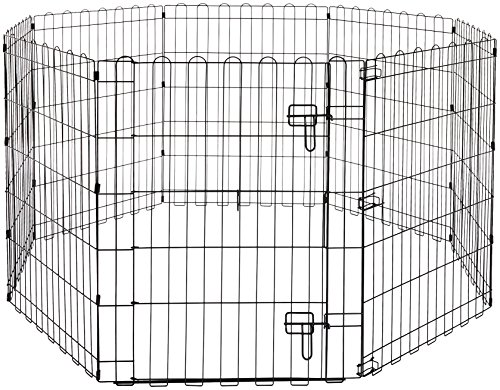 Amazon Basics – Faltbares Metall-Gehege, für Haustier, Hund, Trainingszaun, 152,4 x 152,4 x 76,2 cm von Amazon Basics