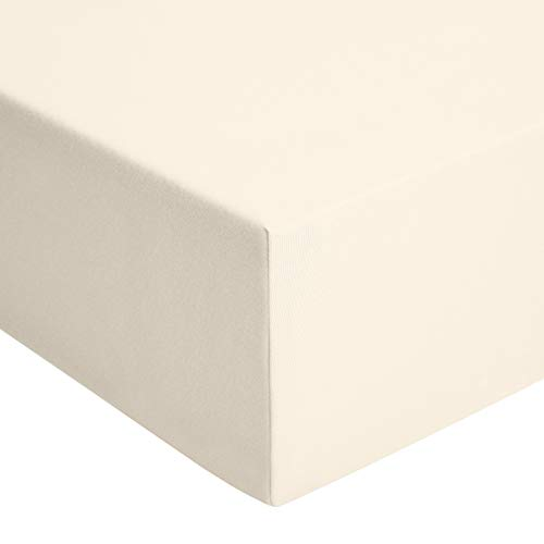 Amazon Basics - Spannbetttuch, Jersey, Beige - 200 x 200 cm von Amazon Basics