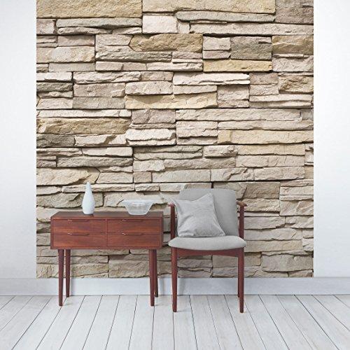 Apalis Steintapete   Vliestapete Asian Stonewall   Steinmauer Aus Großen  Hellen Steinen   Fototapete Quadrat | Vlies Tapete Wandtapete Wandbild Foto  3D ...