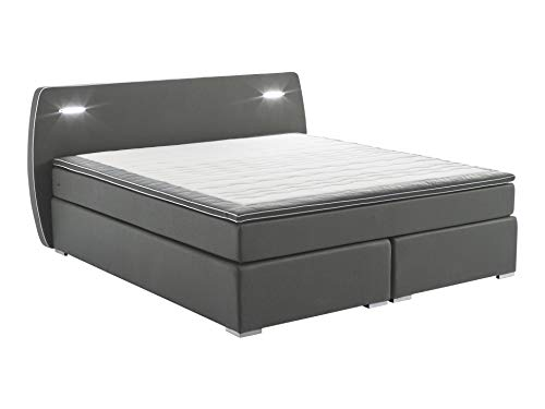 Atlantic Home Collection Boxspringbett REX, 180x200 cm, inklusive LED Beleuchtung und Topper (Härtegrad H2), dunkelgrau von Atlantic Home Collection