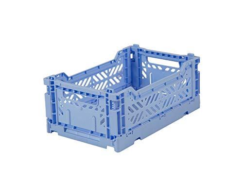 27x17x11cm stabile Faltkiste aus Kunststoff stapelbar Mini Ay-Kasa Klappkiste Baby Blue