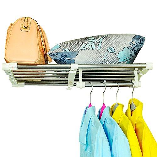 BAOYOUNI Erweiterbar Kleiderschrank Schrank Regal Stange Kleiderb/ügel Organizer Heavy Duty Metall Lagerregal DIY Separator Teiler Kleideraufbewahrungssysteme Garage Wandregale 40-60cm