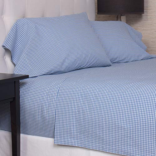 Be-You-tiful Home Gingham Bettlaken-Set, Baumwolle, blau, Full von Be-You-tiful Home