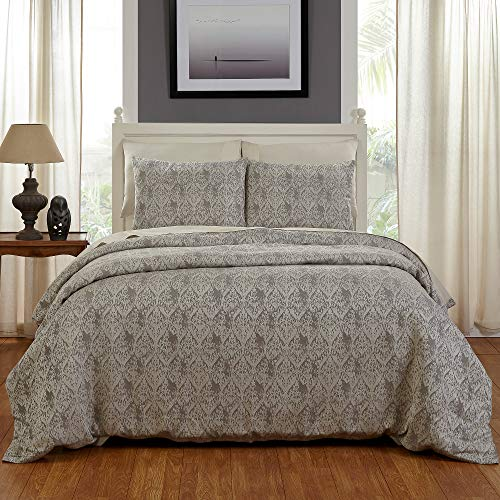 Be-you-tiful Home Sabine Duvet Cover Set, Queen, White/Gray von Be-You-tiful Home