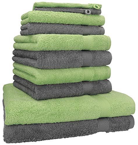 40dd4d9fa8 Handtuch-Set Premium 100% Baumwolle 2 Duschtücher 4 Handtücher 2  Gästetücher 2 Waschhandschuhe Farbe Anthrazit Grau & Apfel Grün