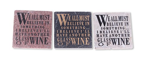 Blue Sky Ceramic We All Must Believe in Something & I Believe I'll Have Another Glass of Wine Stone Title (3 Pack), 4 x 4 von Blue Sky Ceramic