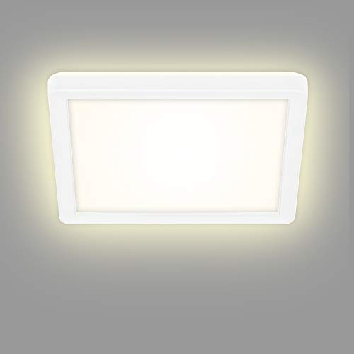 1.400 Lumen LED Deckenleuchte LxBxH 3.000 Kelvin Deckenlampe dimmbar Matt-Nickel 280x238x60mm 14,5 Watt Briloner Leuchten inkl Memoryfunktion
