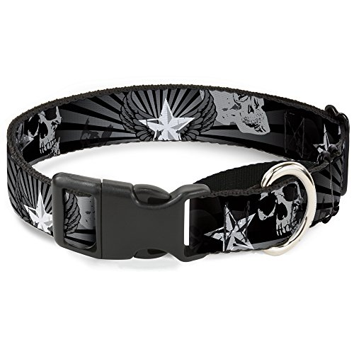 "Buckle-Down Die Hard Skulls & Stars1 Hundehalsband, Martingal, Schwarz/Grau, 1"" Wide - Fits 11-17"" Neck - Medium, Mehrfarbig von Buckle-Down"