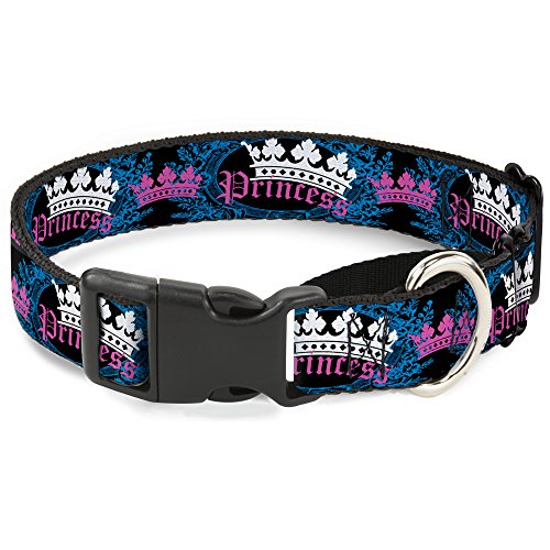 "Buckle-Down Krone Prinzessin Oval Schwarz Türkis Martingale Hundehalsband, 1.5"" Wide - Fits 16-23"" Neck - Medium, Mehrfarbig von Buckle-Down"