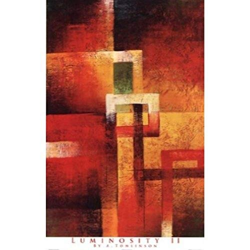 Buyartforless Luminosity II by A. Tomlinson 24x38 Art Print Poster Abstract Painting Squares Fire Colors von Buyartforless