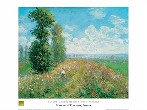 Buyartforless Meadow with Poplars by Claude Monet 24x32 Art Print Poster Famous Painting Floral Landscape von Buyartforless