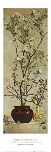 Buyartforless Still Life with Hazaleas and Apple Blossoms by Charles Caryl Coleman 36x12 Art Print Poster Famous Painting White Flowers in Round Vase von Buyartforless