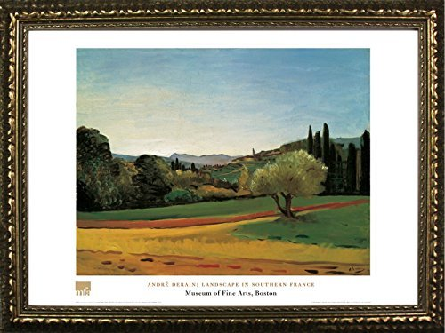 Framed Landscape In Southern France by Derain Andre 24x32 Art Print Poster Famous Painting Landscape Hills Trees Field from Museum of Fine Arts Boston Collection von Buyartforless