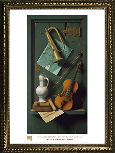 Framed Old Models by William Michael Harnett 28x20 Art Print Poster Still Life Instruments from Museum of Fine Arts Boston Collection von Buyartforless
