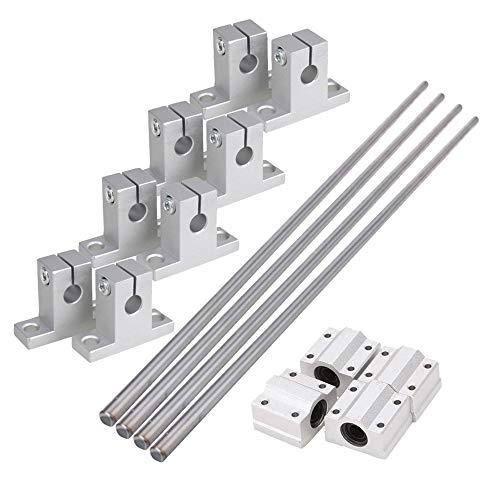 CNBTR Horizontale 8mm Bleischraube /& L300mm Schaft Optische Achse /& Kissen Block Lager Slide Block mit Dual Rail Schaft Unterst/ützung /& Flexible Welle Kupplung Packung von 15