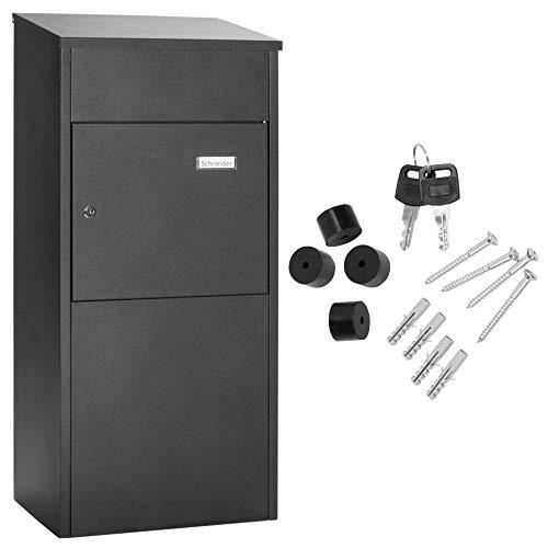 Paketbox Standbriefkasten schwarz Paketannahme f/ür Zuhause passend f/ür Pakete der Gr/ö/ße S und L