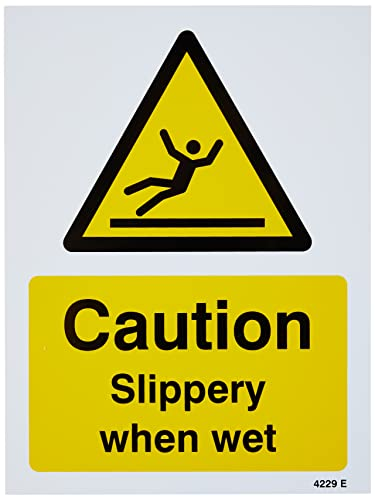 Caledonia Schilder 14229e CAUTION Slippery When Wet Zeichen, 200 mm x 150 mm, starrer Kunststoff von Caledonia Signs