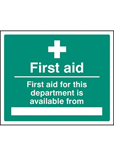 "Caledonia Signs 16018H Schild""First Aid for department Available from"", starrer Kunststoff, 300 mm x 250 mm von Caledonia Signs"