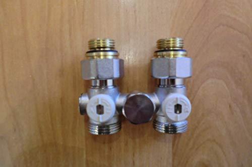 10 Stück SET Hahnblock 1//2 x 3//4 Zoll Durchgang Doppelkugelhahn Heizkörper