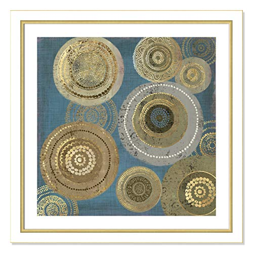 "Casa Fine Arts Aboriginal Dot I Blue Tribal African Wall Art Archival Print, 31"" x 31"", White and Gold Frame von Casa Fine Arts"