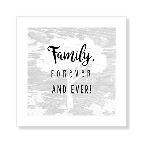 "Casa Fine Arts Family Forever and Ever Grey Wood Texture Rustic Wall Art Archival Print, 10"" x 10"", von Casa Fine Arts"