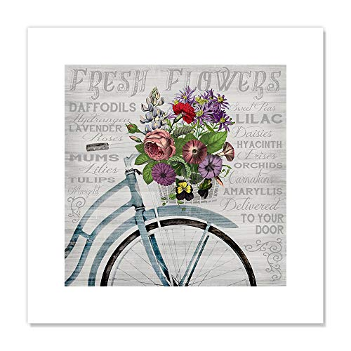 "Casa Fine Arts Fresh Flowers Bicycle Colorful Botanical Wall Art Archival Print, 16"" x 16"", Multicolor von Casa Fine Arts"