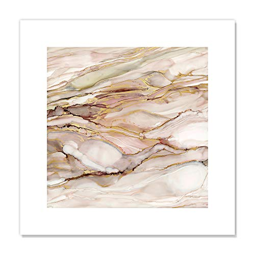 "Casa Fine Arts Graceful Marble I Pastel Pink and Gold Modern Agate Geode Wall Art Archival Print, 16"" x 16"" von Casa Fine Arts"