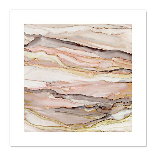 "Casa Fine Arts Graceful Marble II Pastel Pink and Gold Modern Agate Geode Wall Art Archival Print, 20"" x 20"" von Casa Fine Arts"