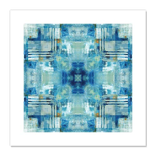 "Casa Fine Arts Kaleidoscope Blue Tie Die Modern Geometric Abstract Wall Art Archival Print, 20"" x 20"", von Casa Fine Arts"