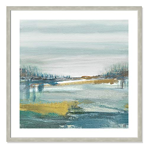"Casa Fine Arts Lewbeach I Blue and Yellow Modern Landscape Wall Art Archival Print, 31"" x 31"", Warm Silver Frame von Casa Fine Arts"