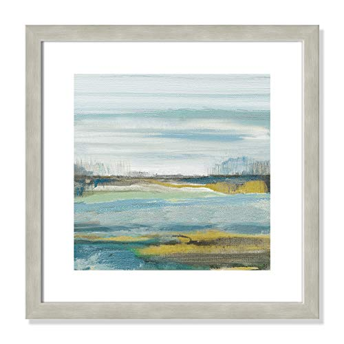 "Casa Fine Arts Lewbeach II Blue and Yellow Modern Landscape Wall Art Archival Print, 16"" x 16"", Warm Silver Frame von Casa Fine Arts"