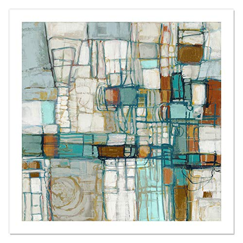 "Casa Fine Arts Midnight Waltz I Blue and Orange Gallery-Inspired Contemporary Abstract Wall Art Archival Print, 36"" x 36"" von Casa Fine Arts"
