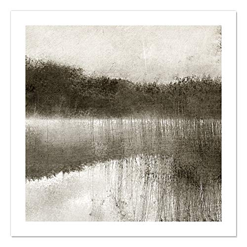 "Casa Fine Arts Misty Morning on The Lake II Black and White Rustic Landscape Wall Art Archival Print, 31"" x 31"", von Casa Fine Arts"