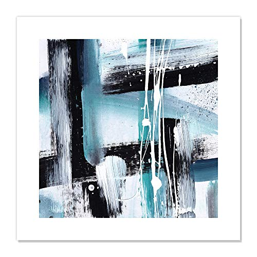 "Casa Fine Arts Modern Expressions I Teal Tones Colorful Bold Abstract Wall Art Archival Print, 20"" x 20"", Blue von Casa Fine Arts"