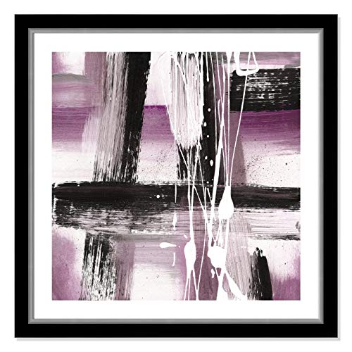 "Casa Fine Arts Modern Expressions II Purple Tones Colorful Bold Abstract Wall Art Archival Print, 31"" x 31"", Black and Silver Frame von Casa Fine Arts"