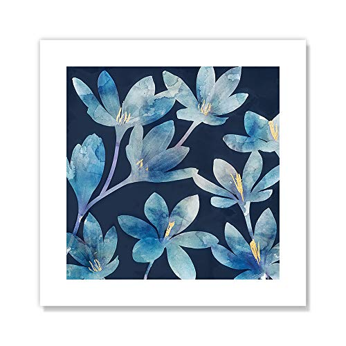 "Casa Fine Arts Mystique Blue I Indigo and Gold Floral Wall Art Archival Watercolor Print, 10"" x 10"" von Casa Fine Arts"