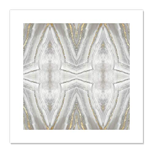 "Casa Fine Arts Neutral Kaleidoscope II Gold and Silver Abstract Modern Agate Geode Wall Art Archival Print, 20"" x 20"", Grey von Casa Fine Arts"