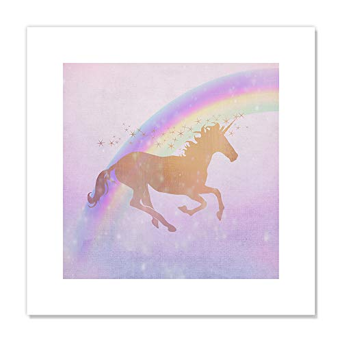 "Casa Fine Arts Ombre I Pastel Fantasy Unicorn Wall Art Archival Print, 16"" x 16"", Purple von Casa Fine Arts"