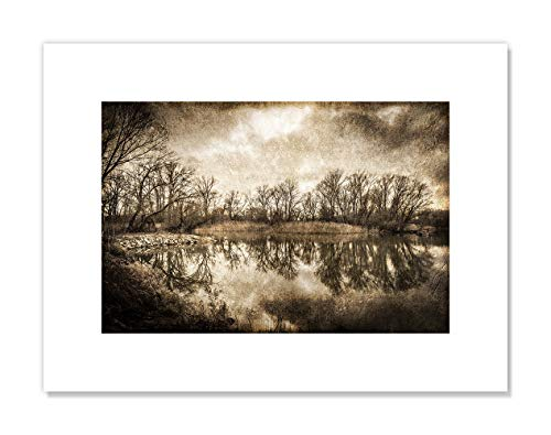 "Casa Fine Arts On The River II Rustic Lake Nature Landscape Sepia Photography Wall Art Archival Print, 16"" x 12"" von Casa Fine Arts"