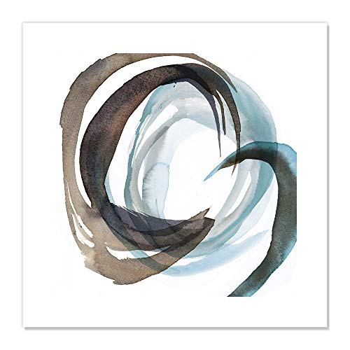 "Casa Fine Arts Overture I Black and Blue Abstract Wall Art Archival Watercolor Print, 20"" x 20"" von Casa Fine Arts"