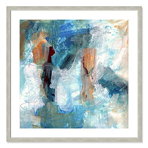 "Casa Fine Arts Painterly Elements I Gallery Modern Abstract Wall Art Archival Print, 31"" x 31"", Warm Silver Frame von Casa Fine Arts"