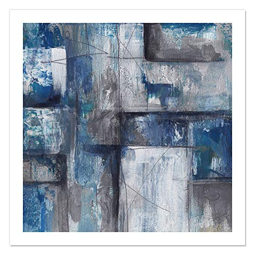 "Casa Fine Arts Patchwork Abstract II Blue Modern Gallery Wall Art Archival Print, 36"" x 36"" von Casa Fine Arts"