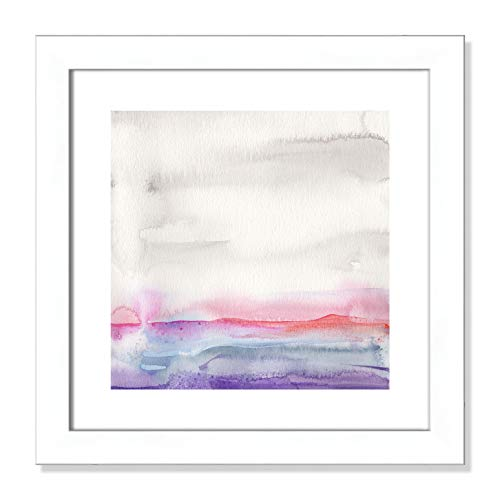 "Casa Fine Arts Pink Landscape II Pastel Minimalist Abstract Wall Art Archival Watercolor Print, 16"" x 16"", Matte White Frame von Casa Fine Arts"