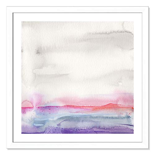 "Casa Fine Arts Pink Landscape II Pastel Minimalist Abstract Wall Art Archival Watercolor Print, 31"" x 31"", Matte White Frame von Casa Fine Arts"